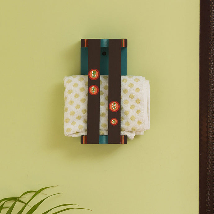 'Desert Stack' Hand-Painted Wooden Hand Towel Holder (Upto 3 Towels)