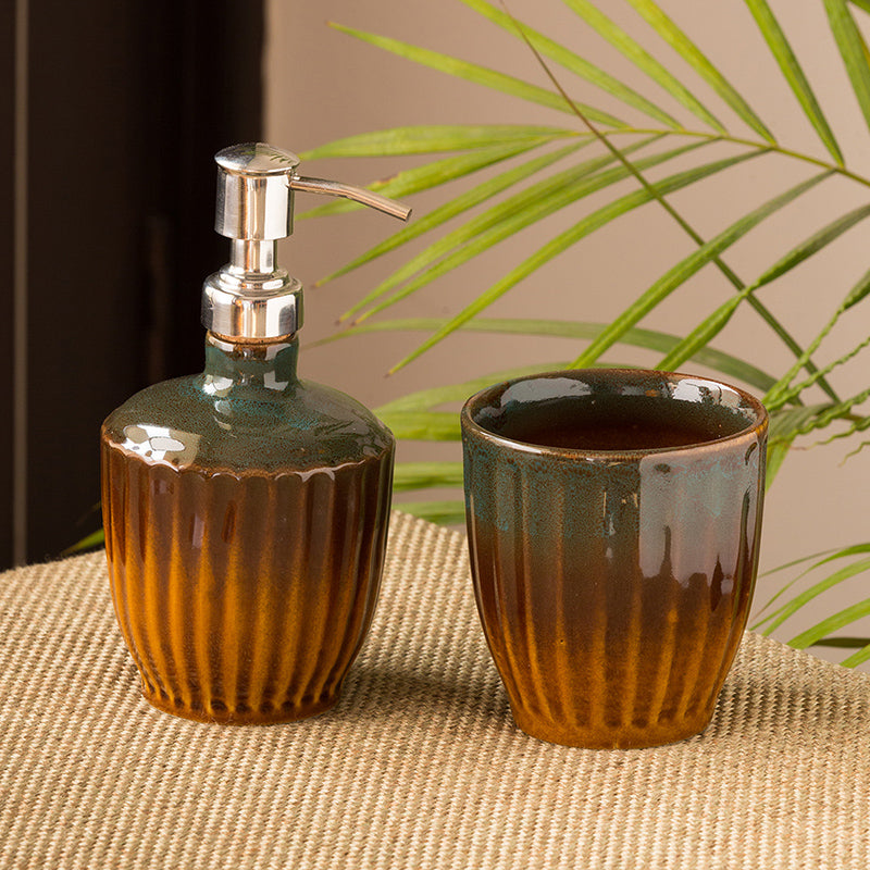 The 'Amber & Teal' Studio Pottery Bathroom Accessory In Ceramic (Set of 2)