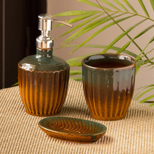 The 'Amber & Teal' Studio Pottery Bathroom Accessory In Ceramic (Set Of 3)