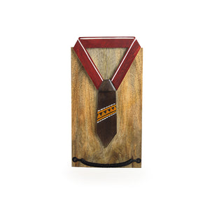 """Warli Shirt"" Hand-Painted Spring Towel Holder In Mango Wood & Iron"