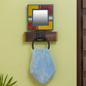 """Warli Mirror"" Hand-Painted Towel Ring Holder In Iron & Pine Wood"