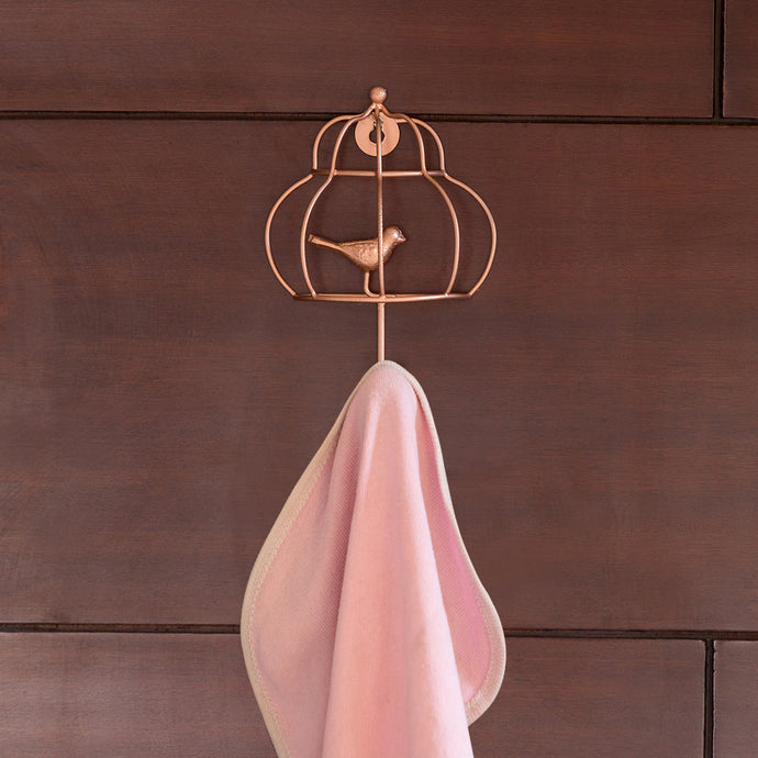 'The Wired Bird & Cage' Handwired Towel Holder In Iron (7 Inch, Copper Finish)