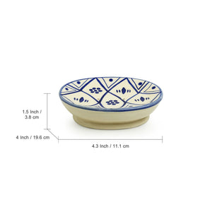 'Moroccan Floral' Hand-painted Studio Pottery Bathroom Accessory Set In Ceramic (Set of 3)