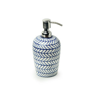 'Indigo Chevron' Hand-painted Ceramic Lotion/Liquid Soap Dispenser (480 ML)