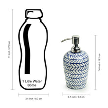 Load image into Gallery viewer, 'Indigo Chevron' Hand-painted Ceramic Lotion/Liquid Soap Dispenser (480 ML)