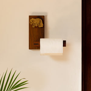 'Elephant Block' Hand Carved Decorative Tissue Roll Dispenser In Sheesham Wood
