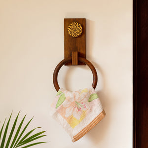 'Floral Block' Hand Carved Towel Ring Holder In Sheesham Wood