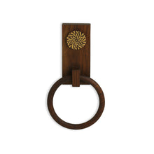 Load image into Gallery viewer, 'Floral Block' Hand Carved Towel Ring Holder In Sheesham Wood