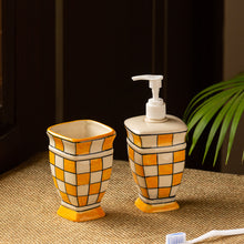 Load image into Gallery viewer, 'Shatranj Checkered' Hand-painted Bathroom Accessory Set In Ceramic (Soap Dispenser, Toothbrush Holder)