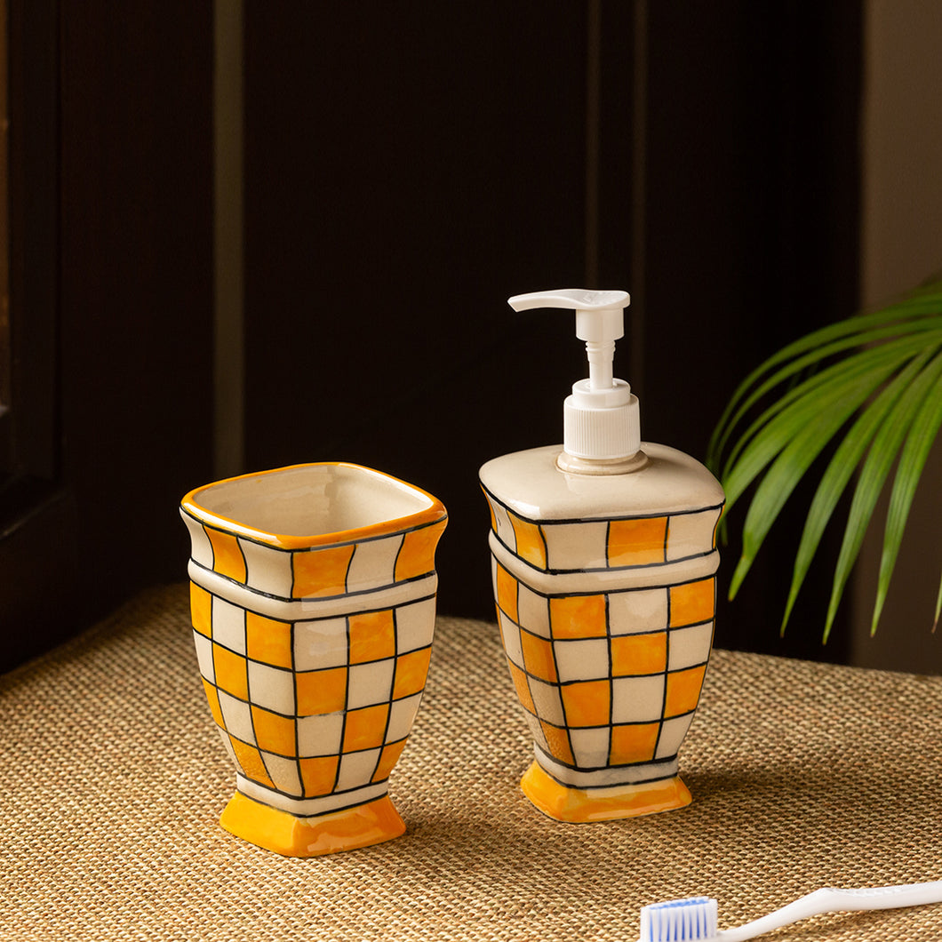 'Shatranj Checkered' Hand-painted Bathroom Accessory Set In Ceramic (Soap Dispenser, Toothbrush Holder)
