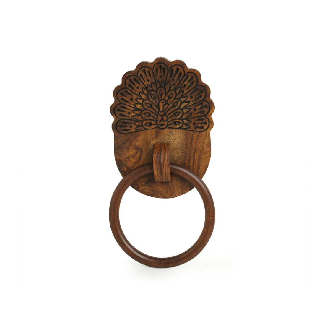 'The Dancing Peacock' Hand Carved Towel Ring Holder in Sheesham Wood
