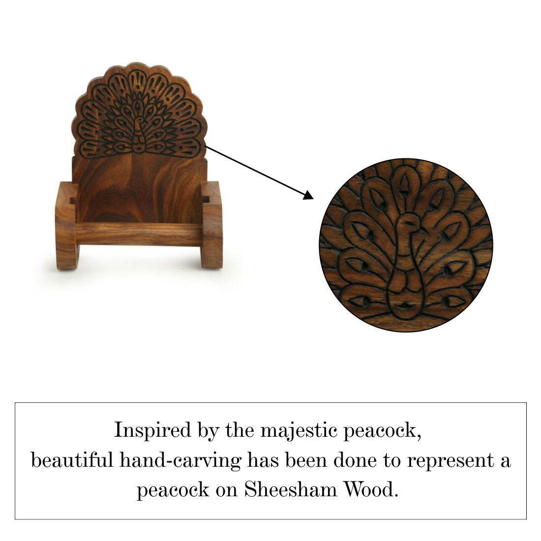 'The Dancing Peacock' Hand Carved Toilet Roll Holder in Sheesham Wood