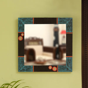 'Oasis Reflection' Hand Carved Wall Mirror In Mango Wood