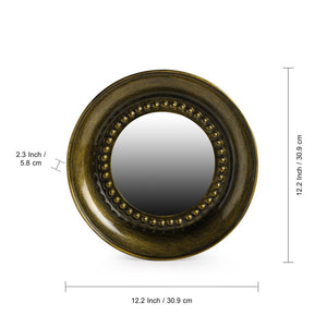 """Brassy Hammered Reflections"" Decorative Wall Mirror In Iron (12 Inch)"