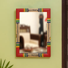 """""""Warli Red & Golden"""" Hand-Painted Wall Mirror In Pine Wood (10 Inch)"""