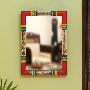 """Warli Red & Golden"" Hand-Painted Wall Mirror In Pine Wood (10 Inch)"