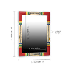 "Load image into Gallery viewer, ""Warli Red & Golden"" Hand-Painted Wall Mirror In Pine Wood (10 Inch)"