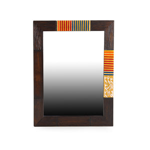 """Warli Brown & Orange"" Hand-Painted Wall Mirror In Mango Wood"