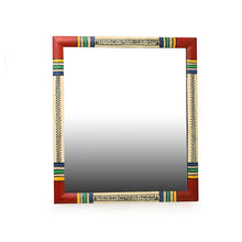 "Load image into Gallery viewer, ""Warli Red & Golden"" Hand-Painted Wall Mirror In Pine Wood (13.5 Inch)"