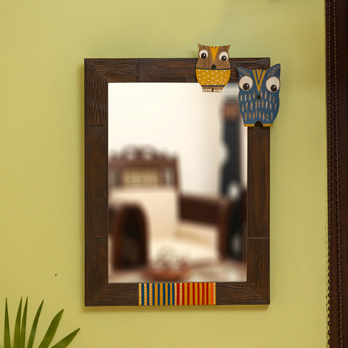 'Owl & Owlet' Decorative Wall Mirror In Mango Wood