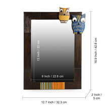 Load image into Gallery viewer, 'Owl & Owlet' Decorative Wall Mirror In Mango Wood