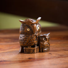 Load image into Gallery viewer, The Night Watch Owl Pair' Hand Carved & Hand Painted Showpiece In Cedar Wood
