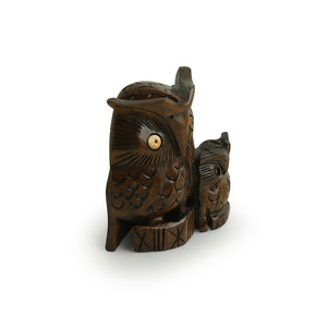 The Night Watch Owl Pair' Hand Carved & Hand Painted Showpiece In Cedar Wood