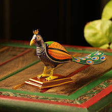 Load image into Gallery viewer, 'The Curious Peacock' Intricate Hand-Painted Showpiece In Gullar Wood