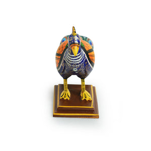 'The Curious Peacock' Intricate Hand-Painted Showpiece In Gullar Wood