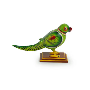 'The Curious Parrot' Intricate Hand-Painted Showpiece In Gullar Wood