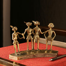 "Load image into Gallery viewer, ""Tribal Storytellers"" Brass Figurine Showpiece Handmade In Dhokra Art"