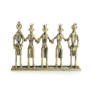 """Tribal Musicians"" Brass Figurine Showpiece Handmade in Dhokra Art"
