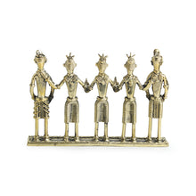 "Load image into Gallery viewer, ""Tribal Musicians"" Brass Figurine Showpiece Handmade in Dhokra Art"