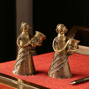 """Tribal Foragers""  Brass Figurine Showpieces Handmade In Dhokra Art (Set of 2)"
