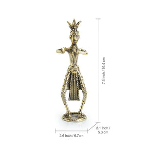"""Tribal Courtesan""  Brass Figurine Showpiece Handmade in Dhokra Art"