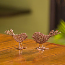 Load image into Gallery viewer, 'Blabber Bird Mesh Pair' Handwoven Showpieces In Iron (Set of 2, Copper Finish)