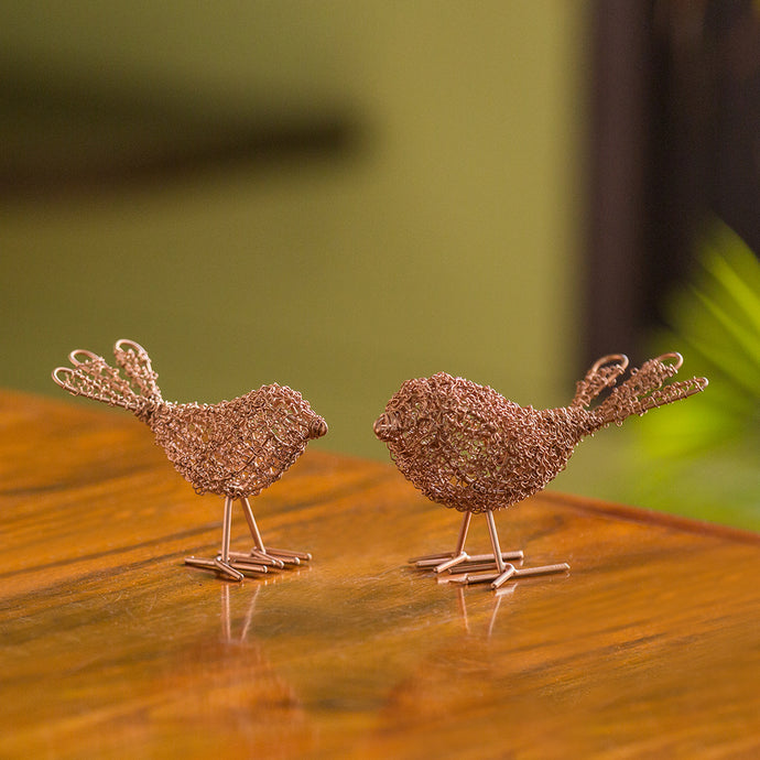 'Blabber Bird Mesh Pair' Handwoven Showpieces In Iron (Set of 2, Copper Finish)
