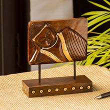 "Load image into Gallery viewer, ""Resting Buddha"" Hand Carved Wooden Sculpture Showpiece (7.6 Inch)"