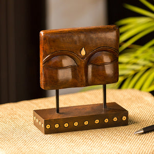"""Meditating Buddha Eyes"" Hand Carved Wooden Sculpture Showpiece (7.7 Inch)"