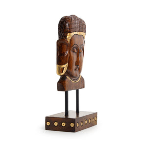"""Enlightened Buddha"" Hand Carved Wooden Sculpture Showpiece (9.6 Inch)"