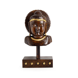 """Tranquil Buddha"" Hand Carved Wooden Sculpture Showpiece (8.1 Inch)"