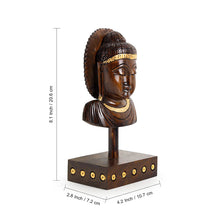 "Load image into Gallery viewer, ""Tranquil Buddha"" Hand Carved Wooden Sculpture Showpiece (8.1 Inch)"