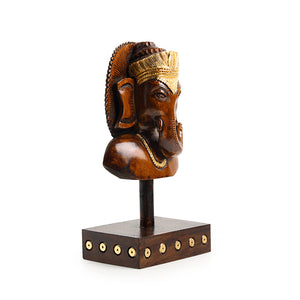 """Enlightened Ganesha"" Hand Carved Wooden Sculpture Showpiece (7.8 Inch)"
