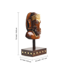 "Load image into Gallery viewer, ""Enlightened Ganesha"" Hand Carved Wooden Sculpture Showpiece (7.8 Inch)"