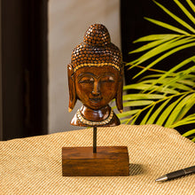 "Load image into Gallery viewer, ""Meditating Buddha"" Hand Carved Wooden Sculpture Showpiece (9.1 Inch)"