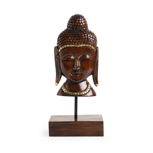 """Meditating Buddha"" Hand Carved Wooden Sculpture Showpiece (9.1 Inch)"