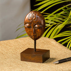 """""""Meditating Face"""" Hand Carved Wooden Sculpture Showpiece (6.7 Inch)"""
