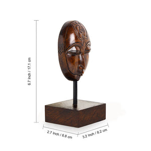 """Meditating Face"" Hand Carved Wooden Sculpture Showpiece (6.7 Inch)"