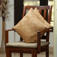 "Load image into Gallery viewer, ""Geometrical Ornaments Hand Blocked"" Cushion Cover In Silk (Set Of 2)"