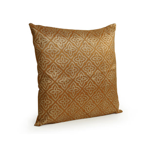 """Geometrical Ornaments Hand Blocked"" Cushion Cover In Silk (Set Of 2)"